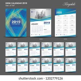 Desk Calendar 2020 year size  6 x 8 inch template, blue calendar 2019 template, Set of 12 Months, Week Starts Monday, wall calendar, flyer design, cover template vector, advertisement creative