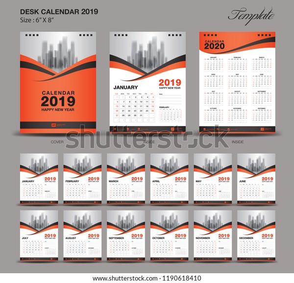 Modele De Calendrier 2020.Image Vectorielle De Stock De Calendrier De Bureau 2020 De 6