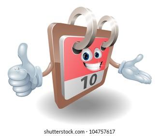 Desk calendar cartoon character giving thumbs up sign