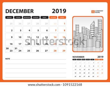 Desk Calendar December 2019 Template Printable Stock Vector Royalty