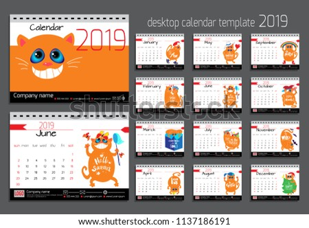 Desk Calendar Funny Cats 2019 Year Stock Vector Royalty Free