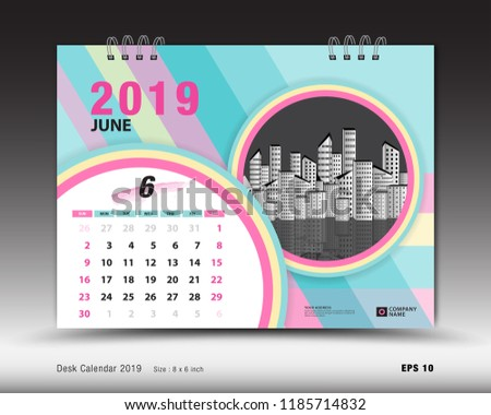 Desk Calendar June 2019 Template Printable Stock Vector Royalty