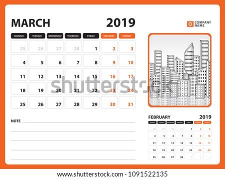 Desk Calendar March 2019 Template Printable Stock Vector Royalty