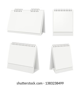 Desk calendar. Organizer with blank pages diary calendar on table vector realistic mockup