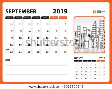 Calendar Planner September 2019.Desk Calendar September 2019 Template Printable Stock Vector