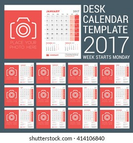 Desk Calendar Template for 2017 Year. 12 Months. Design Template with Place for Photo. 3 Months on Page. Vector Illustration. Week starts Monday. Stationery Design