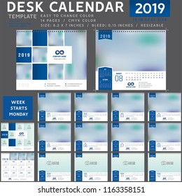 Desk calendar template for 2019 Year, Design Template, Week starts on Monday, spiral binding, Vector Illustration, personal organizer, blue calendar 0001