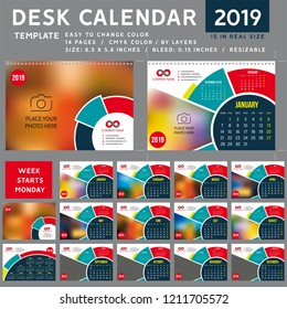 Desk calendar template for 2019 Year, Design Template, Week starts on Monday, spiral binding, Vector Illustration, personal organizer