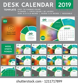 Desk calendar template for 2019 Year, Design Template, Week starts on Monday, spiral binding, Vector Illustration, personal organizer, green calendar