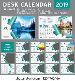 Desk calendar template for 2019 Year, Design Template, Week starts on Monday, spiral binding, Vector Illustration, personal organizer, torn calendar teal