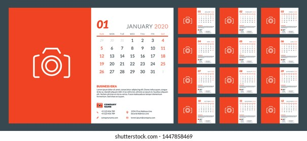 Desk calendar template for 2020 year. Set of 12 pages. Week starts on Sunday. Vector illustration