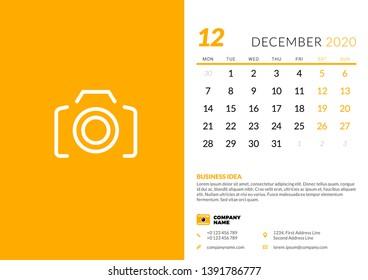 December 2020 Modern Typography Calendar Next Week Stock Vectors, Images & Vector Art | Shutterstock