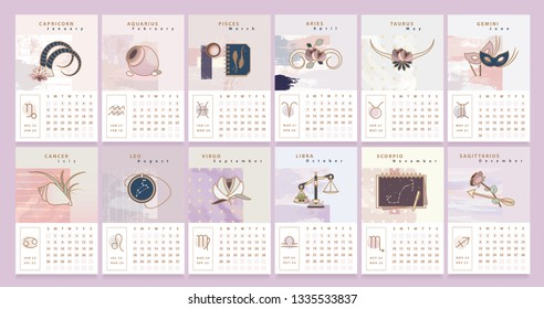 Desk calendar template with illustrated horoscope signs and glyphs in feminine artistic style