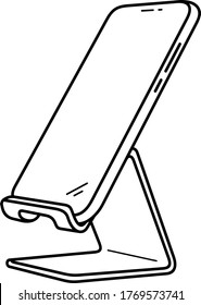 Desk cell phone stand holder. Vector outline icon.