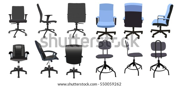 Fantastic Desk Chair Front Back Side Collection Stockvector Ncnpc Chair Design For Home Ncnpcorg