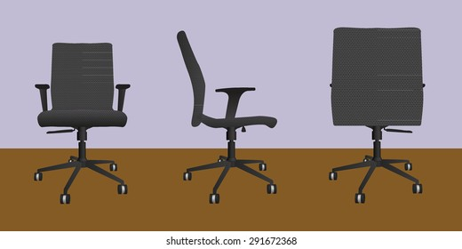 Desk chair front side back