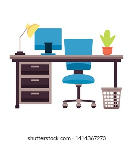desk chair laptop plant paper bin lamp plant workplace office furniture vector illustration
