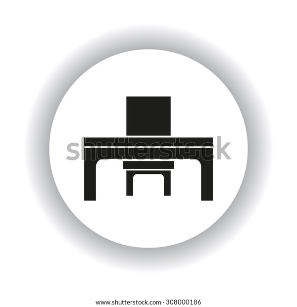 desk and chair, a table in the office. icon. vector design