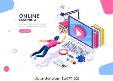 Desk of class seminar or courses. Online tutorial infographic for college research. Teaching cap on app for distance e-learning graduation. Concept with characters, flat isometric vector illustration.
