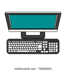 Desk computer with keyboard