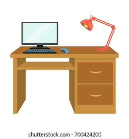 A desk with a computer and a desk lamp. Furniture and interior single icon in cartoon style Isometric vector symbol stock illustration web.