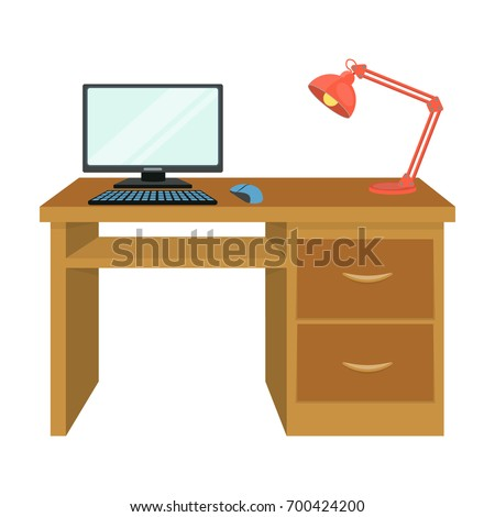 A Desk With A Computer And A Desk Lamp. Furniture And Interior Single Icon  In