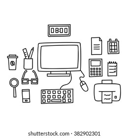 Desk with a computer or workplace in office drawn by hand doodle style. Vector illustration.