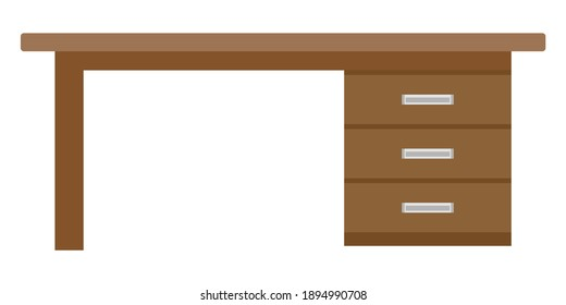 Desk with drawers icon, flat design. Vector illustration