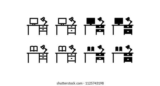 Desk Icon Design Vector Symbol Set Work Study Office