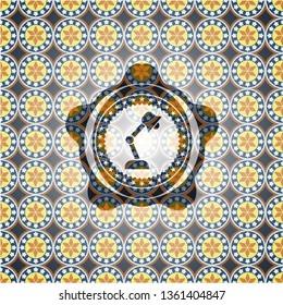 desk lamp icon inside arabesque badge. arabic decoration.