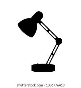 Desk lamp modern cartoon black silhouette vector illustration. Table bulb office workplace design element in flat style isolated on white background. The flow of light. Icon for business and education
