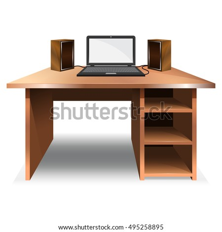 desk laptop music speakers vector illustration stock vector royalty