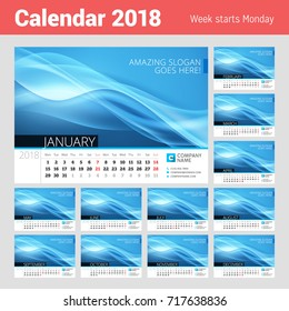 Desk line calendar for 2018 Year. Vector design print template with abstract background. Week starts on Monday
