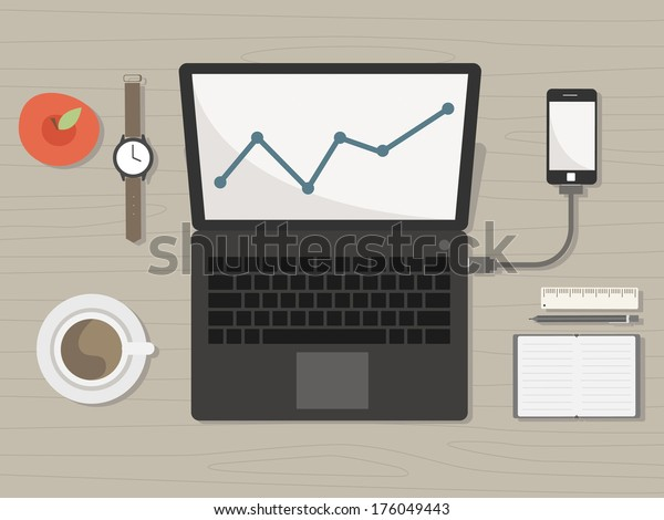 desk with notebook and accessories vector