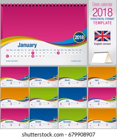 Desk triangle calendar 2018 colorful template. Size: 210mm x 150mm. Format A5. Vector image. English version