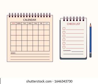 Desktop calendars, notebooks and pencils. hand drawn style vector design illustrations.
