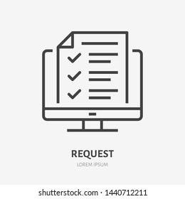 Desktop computer with digital questionnaire flat line icon. Vector thin sign of online test result, education logo. Survey outline illustration.