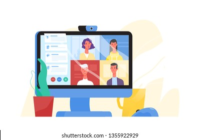 Desktop computer with group of colleagues taking part in video conference. Software for videoconferencing and online communication. Virtual work meeting. Modern vector illustration in flat style.