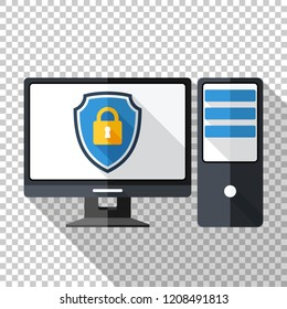 Desktop computer icon in flat style with a protective shield on a screen on transparent background