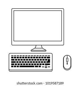 desktop computer isolated icon