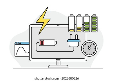 Desktop Computer Monitor with Charging Battery as Programmed Machine for Operation Vector Illustration