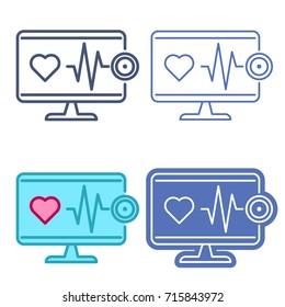Desktop computer monitor with stethoscope and heartbeat symbol. Vector outline icon set. Telemedicine concept line pictograms. Thin contour infographic elements for web design, presentations, networks
