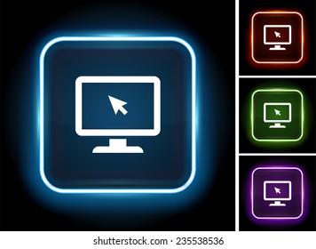 Desktop Computer on Glow Round Button