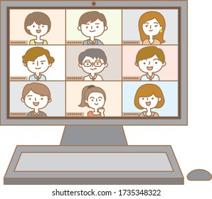 A desktop computer showing the state of an online meeting