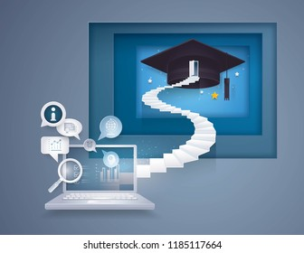 Desktop Computer with stair to graduation cap,The door with graduation Hat on top of Staircase,Bubble talk with Education icon,knowledge,diploma,College, University Education concept, Paper art vector