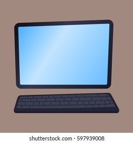 Desktop computer technology isolated icon telecommunication equipment metal pc monitor frame modern office network electronic device space vector illustration.