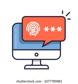 Desktop computer with unlocked via fingerprint password bubble notification. Line cartoon design or pc screen with finger print and password field image.