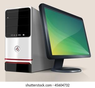 Desktop Computer. Vector Illustration