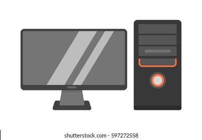 Desktop computer vector illustration.