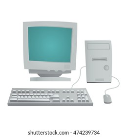 Desktop computer vector and desktop computer keyboard internet isolated display icon